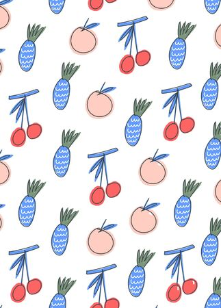 Postcard with print. Simplified fruits with marker pen outlines Vettoriali