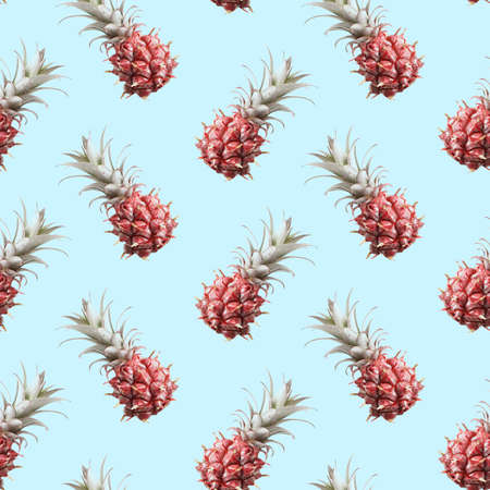 Pineapples on pink background. Element of seamless pattern. Photo print