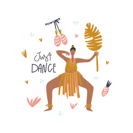 Dancing woman with palm leaf, decorative leaves and fruits surrounding, lettering style phrase: just dance. Vector illustration Ilustração