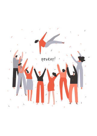 Group of people congratulate a person by tossing them up. Togetherness concept. Hand drawn phrase: hooray . Vector illustration