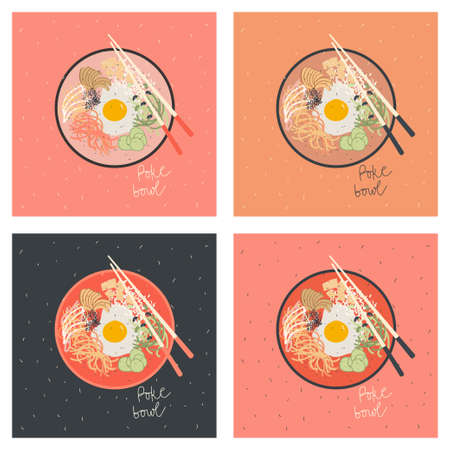 Poke bowl with egg, vegetables and salmon fish . Vector hand drawn illustration. Postcards in different colors variants