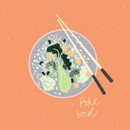 Poke bowl with vegetables and salmon fish. Vector hand drawn illustration