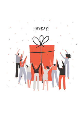 Group of people surrounding big gift box. Togetherness concept. Birthday postcard. Hand drawn phrase: hooray . Vector illustration