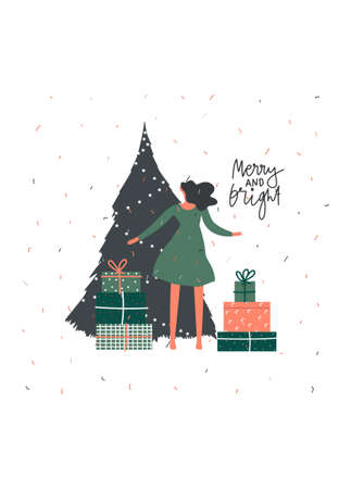 Merry Christmas celebration greeting card design. Noel gift with presents near Christmas tree. Hand written text , Vector flat illustration