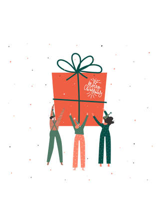 Merry Christmas celebration greeting card design. Big present for all. Hand written text , Vector flat illustration