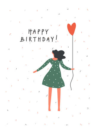 Birthday celebration greeting card design. Young girl with balloon . Hand written text , Vector flat illustration Çizim