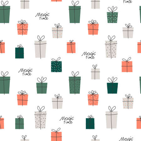 Vector element of seamless pattern. Gift box with ribbon and hand written phrase magic time. Christmas and new year paper print design