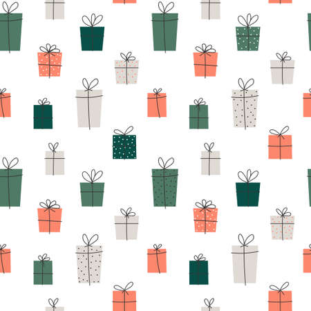 Vector element of seamless pattern. Gift box with ribbon. Christmas and new year paper print design
