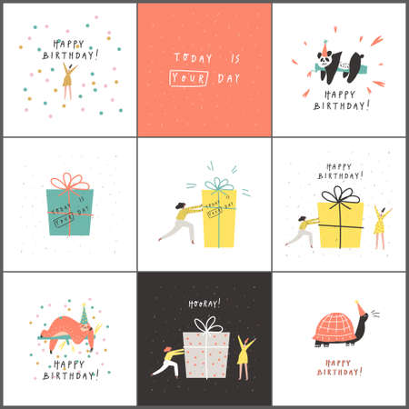 Vector set of birthday cards. Happy people and animals, presents, hand written text, confetti
