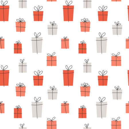 Vector element of seamless pattern. Gift box with ribbon. Template for paper print design Vettoriali