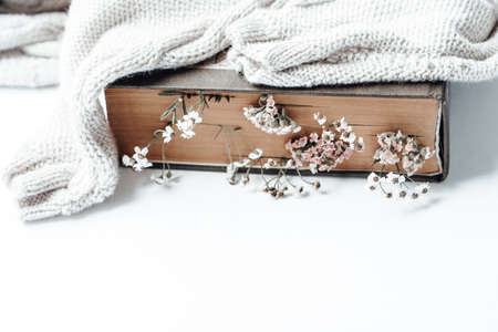 Old book with field flowers as bookmarks and warm sweater on white background. Photo
