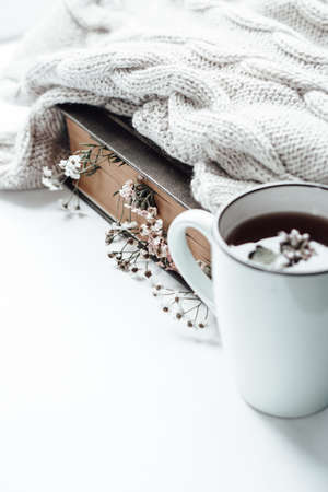 Old book with field flowers as bookmarks, knitted blanket and a cup of tea with mint leaves. Photo Archivio Fotografico
