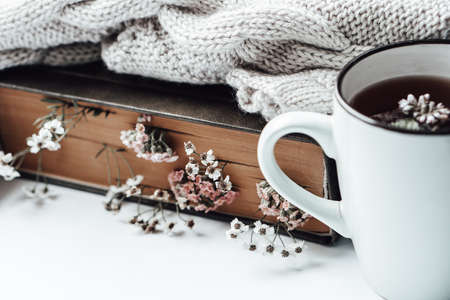 Old book with field flowers as bookmarks, warm sweater and a cup of tea with mint leaves on background. Photo