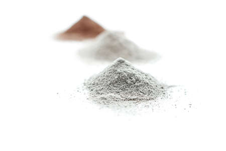 Cosmetics clay of different colors on white background isolation.