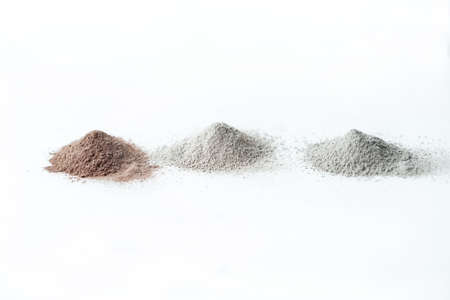 Cosmetics clay of different colors on white background isolation. Photo