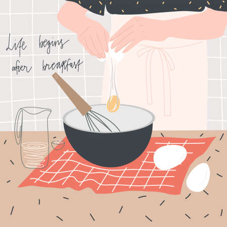 Woman prepares breakfast of eggs. Table with products and kitchen utensils. Hand drawn quote: life begins after breakfast. Vector template for design of postcard, print, cover and other users
