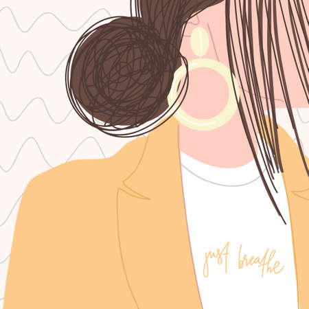 Stylish woman with beautiful hairstyle, an earring in her ear in yellow jacket and white t-shirt with handwritten phrase. Vector flat illustration