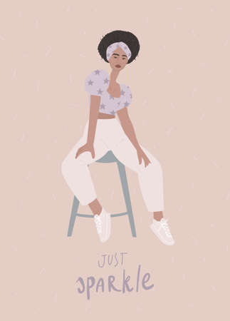 Stylish independent woman sitting on the chair. Handwritten quote: just sparkle.