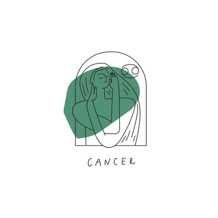Vector Cancer zodiac sign icon. Stylized woman drawn with lines