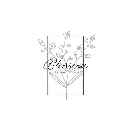 Logotype element. Part of flowering plant drawn in lines Vector Vettoriali