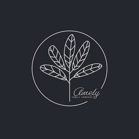 Logotype element. Branch with leaves drawn in lines Vector