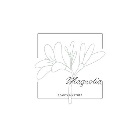 Logotype element. Flowering plant drawn in lines