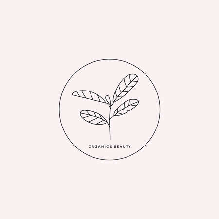 Logotype element. Plant part with leaves drawn in lines Vettoriali