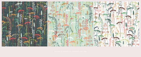 Silhouettes collection of field flowers and herbs. Element of seamless pattern