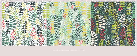 Vector silhouettes collection of leaves . Element of seamless pattern Vettoriali
