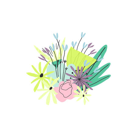 Colorful amazing flower bouquet. Vector illustration, template for print