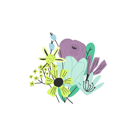 Hand drawn colorful flowers bouquet. Illustration, template for funny print