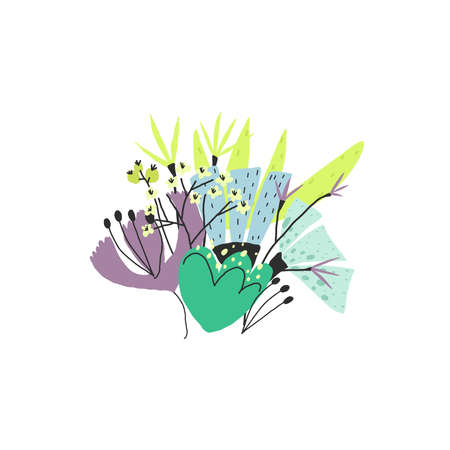 Stylized colorful flowers bouquet. Vector illustration, template for print Vettoriali