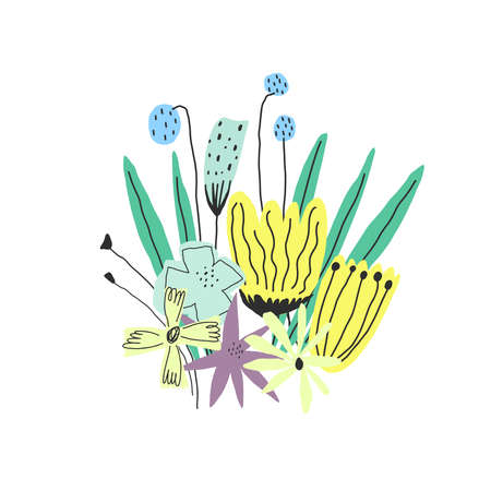 Vector illustration. Stylized fresh colors funny flowers bouquet