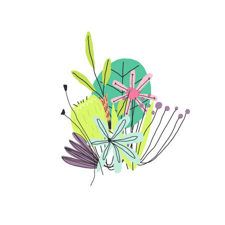 Vector Funny colorful flowers leaves and berries compounded in the bouquet Vettoriali