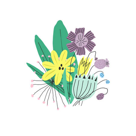 Bright funny flowers bouquet. Vector illustration