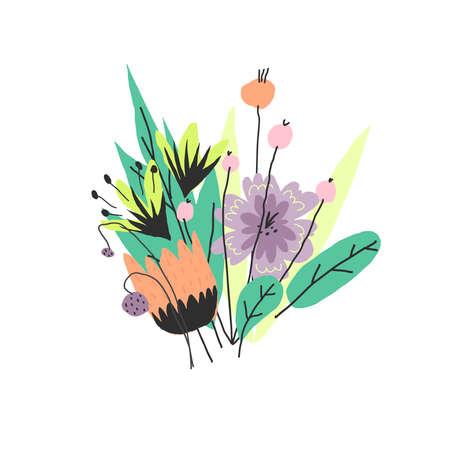 FVector illustration. Funny summer colors flower bouquet Vettoriali
