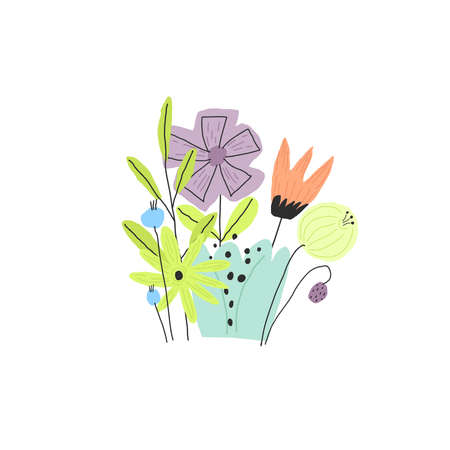 Colorful funny flower bouquet. Vector doodle style illustration Vettoriali