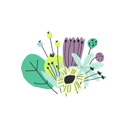 Vector stylized doodle style colorful funny flower bouquet