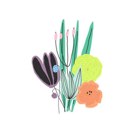 Colorful flower bouquet. Vector illustration Vettoriali
