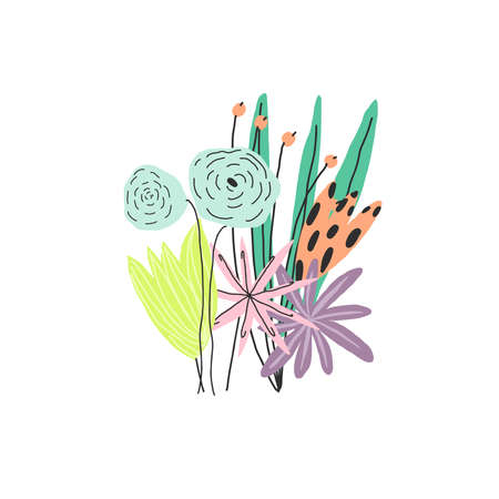 Hand drawn colorful flowers bouquet. Vector illustration