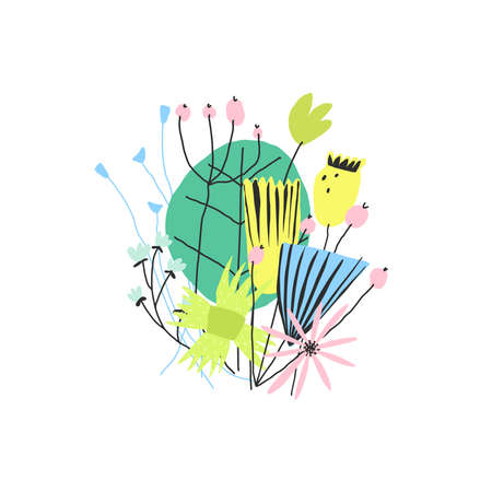 Hand drawn kid style colorful funny flower bouquet. Vector