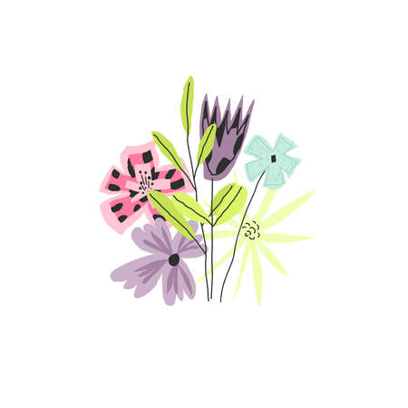 Doodle style colorful funny bouquet with flowers and leaves. Vector illustration