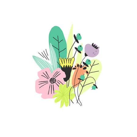 Bouquet with colorful flowers. Vector doodle style illustration Vettoriali
