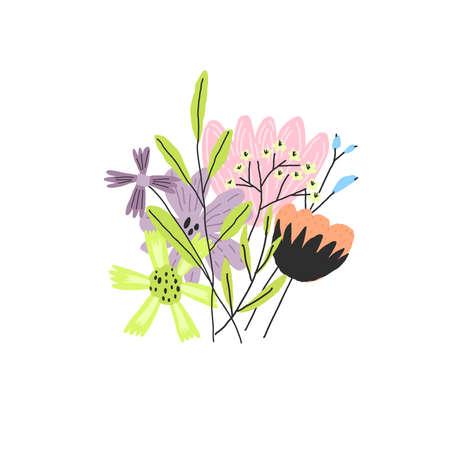 Vector doodle style colorful flower bouquet illustration