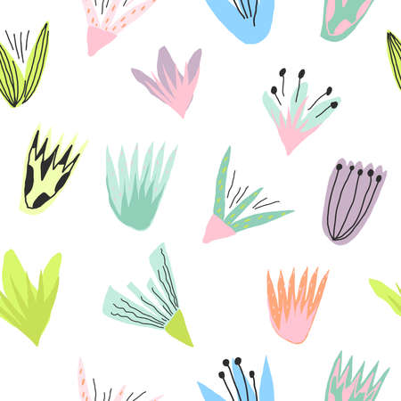 Colorful flower print Template for paper, cover, textile Vector seamless pattern Vettoriali