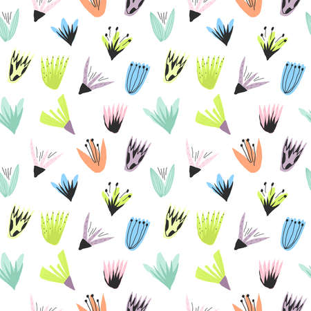Flowers print Template for paper design, cover, textile. Vector seamless pattern