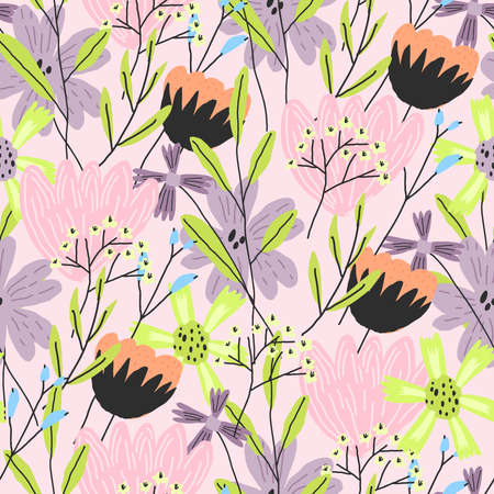 Vector element of seamless pattern. Colorful funny floral print Vettoriali