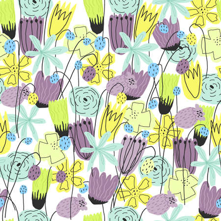 Colorful funny floral print for paper, cover, textile. Vector seamless pattern