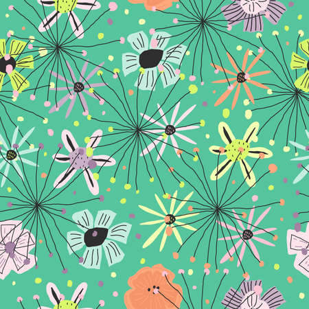 Colorful floral print Template for paper, cover, textile Vector seamless pattern