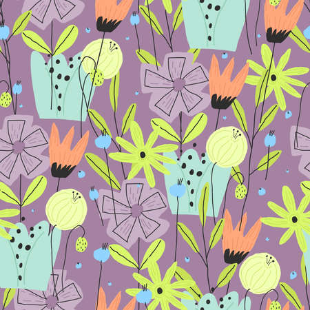 Colorful funny flower print for paper, cover, textile seamless pattern Vettoriali